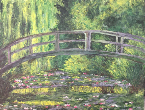 Rendition of Monet's The Japanese Footbridge by Lisa