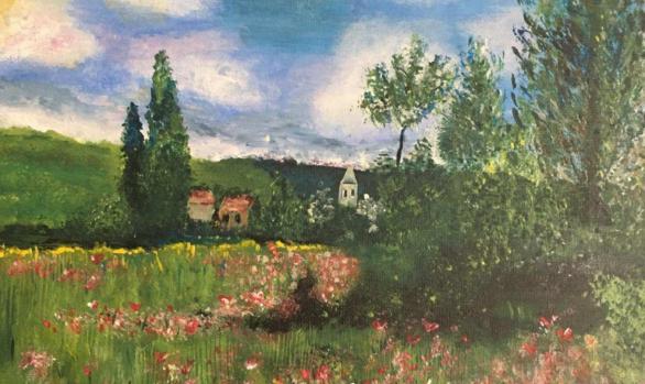 Rendition of Monet's Lane in the Poppy Fields Ile Saint Martin by Anita